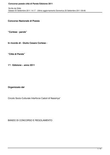 Concorso poesie città di Parete Edizione 2011 - Concorsi Letterari