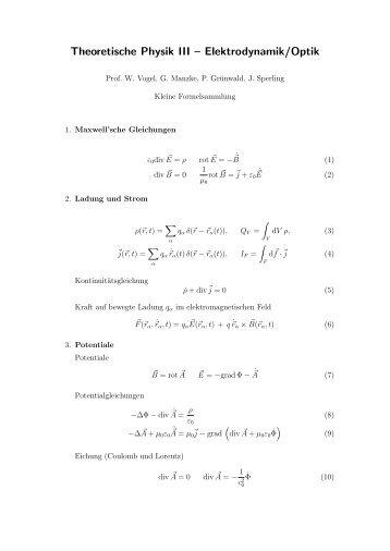 Theoretische Physik III – Elektrodynamik/Optik