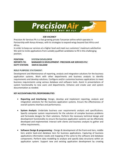 System Developer - Precision Air