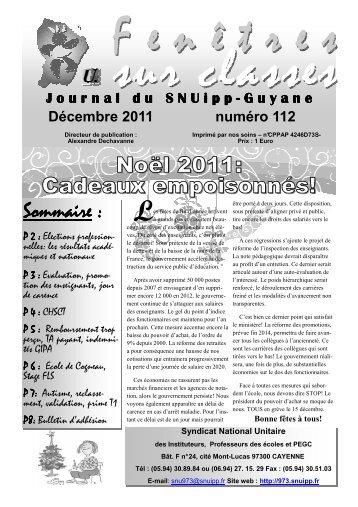 Sommaire : Cadeaux empoisonnés! Noël 2011: - SNUipp Guyane
