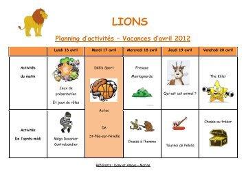 Planning d'activités – Vacances d'avril 2012 - Bidart