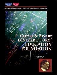 Carrier & Bryant DISTRIBUTORS' EDUCATION FOUNDATION ...