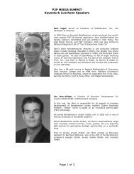 P2P MEDIA SUMMIT Keynote & Luncheon Speakers Page 1 ... - DCIA