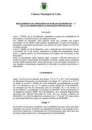 Regulamento da ASE - Câmara Municipal de Cuba