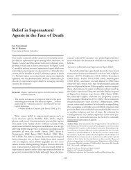 Belief in Supernatural Agents in the Face of Death - Department of ...