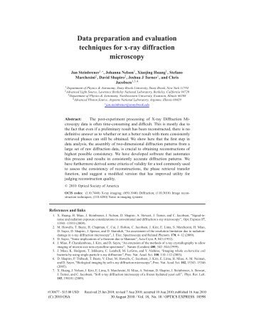 Data preparation and evaluation techniques for x-ray diffraction ...