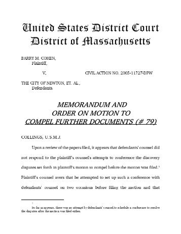 memorandum and order on motion to compel further documents (# 79)