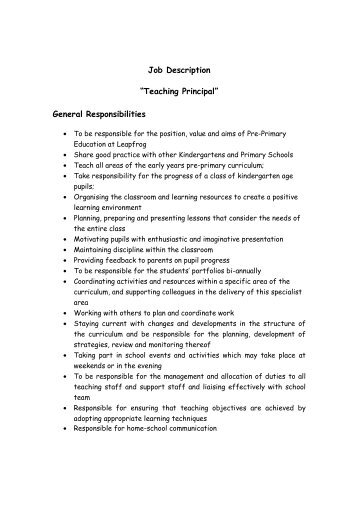 Mendell Primary School Job Description: Class Teacher Ks1