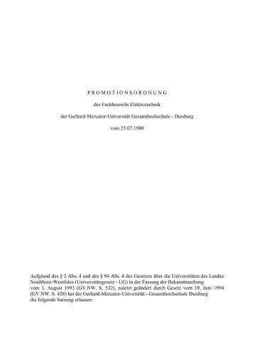 PROMOTIONSORDNUNG des Fachbereichs Elektrotechnik der ...