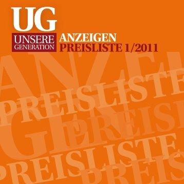 ANZEIGEN PREISLISTE 1/2011