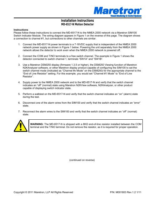 MD-6517-N Motion Detector Installation Instructions - Maretron