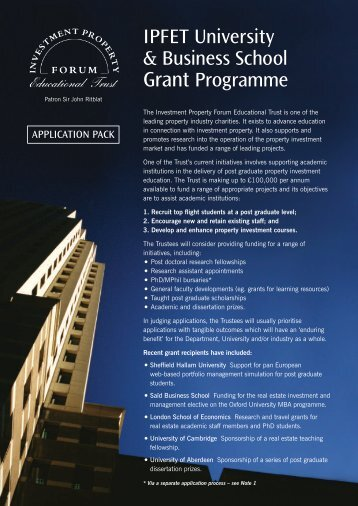 IPFET University & Business School Grant Programme - Investment ...