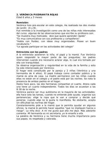 2. VERÓNICA PIEDRAHITA ROJAS Edad 6 años y 5 meses ...