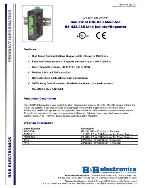 485OPDRI - Datasheet - Industrial DIN Rail Mounted RS-422