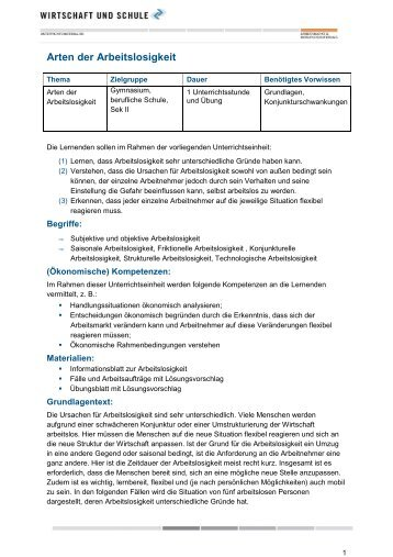 Arbeitslosigkeit – Daten und Fakten - Wirtschaft und Schule