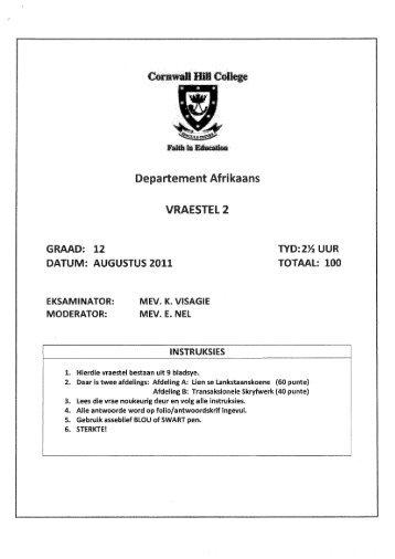Departement Afrikaans Vraestel2