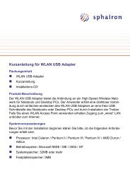 Kurzanleitung für WLAN USB Adapter - Sphairon
