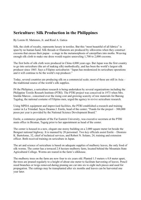 Sericulture: Silk Production in the Philippines - Philippine
