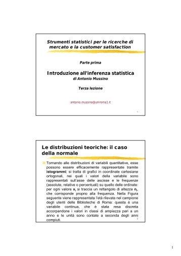 Introduzione all'inferenza statistica Le distribuzioni teoriche: il caso ...