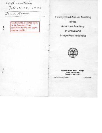 23rd Annual Meeting, February 8-9, 1974 - American Academy of ...