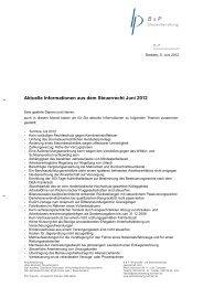 Aktuelle Informationen aus dem Steuerrecht Juni ... - Steuerberatung