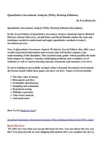 Quantitative Methods For Investment Analysis Pdf