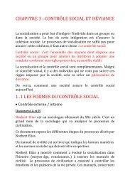 chapitre 3 : contrôle social et déviance 1 .1 les formes du contrôle ...