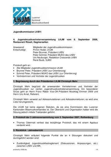 protokoll jv 2008 - Luzerner Kantonal-Blasmusikverband