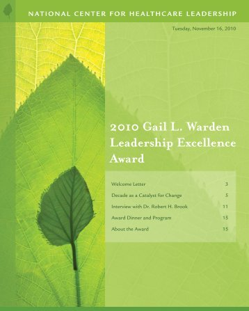 2010 - National Center for Healthcare Leadership