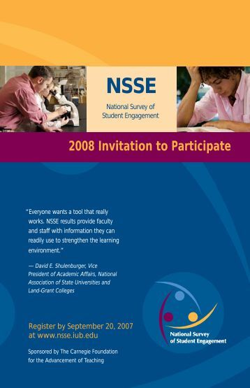 2008 Invitation to Participate - NSSE - Indiana University Bloomington