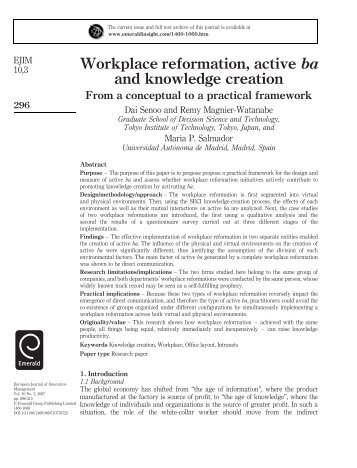 Workplace reformation, active ba and knowledge creation