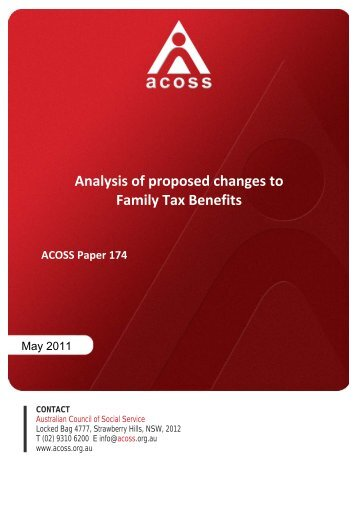 Analysis of proposed changes to Family Tax Benefits - Australian ...