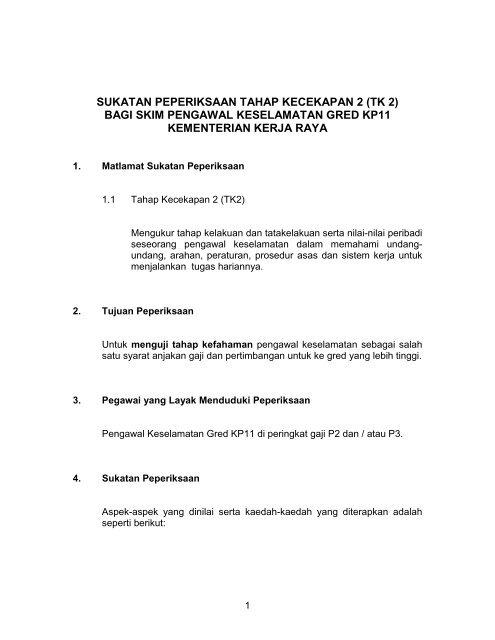 Pengawal Keselamatan Gred Kp 11 Tk2 Kementerian Kerja Raya