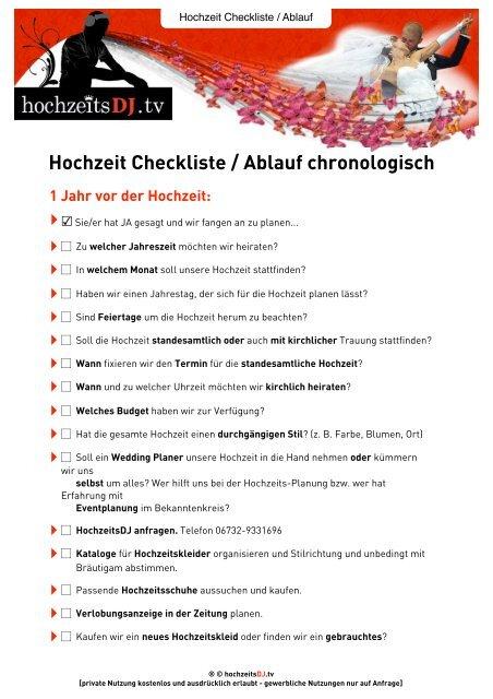 Hochzeit Checkliste Ablauf Chronologisch Hochzeitsdj Tv