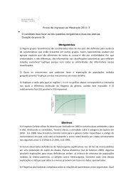 Prova de Biodiversidade e Biologia Evolutiva 2011/3 - Instituto de ...