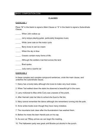 mainindependent subordinatedependent clauses exercise - Independent And Dependent Clauses Worksheet