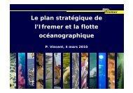 Le plan stratégique de l'Ifremer et la flotte océanographique