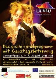 Das große Ferienprogramm mit Ganztagsbetreuung - Stadt Hof