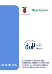 Il contributo del sistema territoriale della provincia di Piacenza all ...