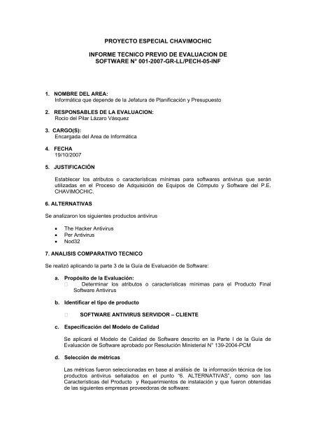 Proyecto Especial Chavimochic Informe Tecnico Previo De