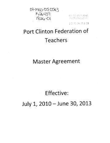 Port Clinton Federation of Teachers Master Agreement Effective ...