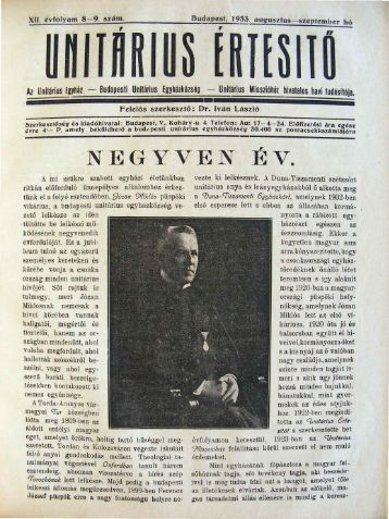 1933. augusztus - szeptember - Unitárius tudás-tár
