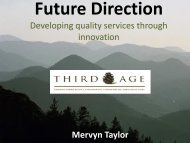 Developing quality services through innovation Mervyn Taylor