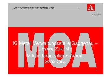 Mitgliederorientierte Arbeit. - IG Metall Gaggenau