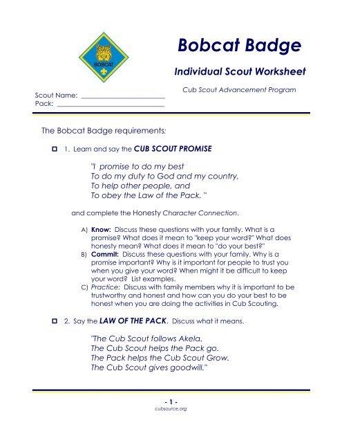 Bobcat Badge Individual Scout Worksheet