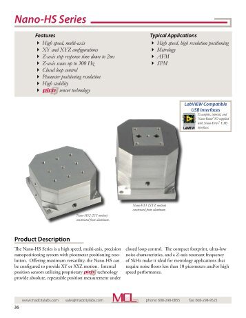 Nano-HS Series - high speed nanopositioning stages - Mad City Labs