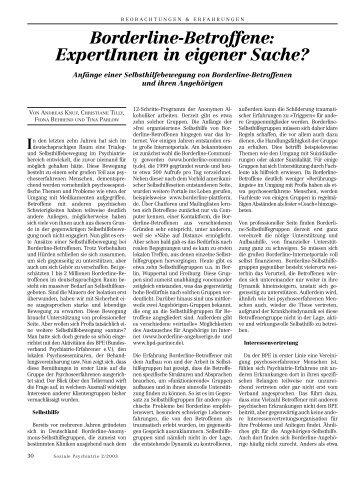Borderline-Betroffene: ExpertInnen in eigener Sache? - Andreas Knuf