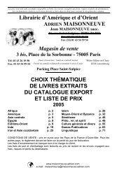 Choix thématique de livres extraits du catalogue export et liste de ...