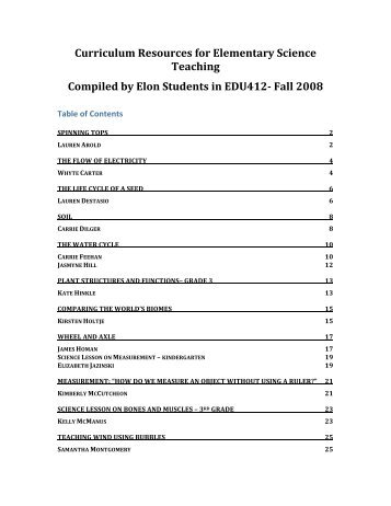 Curriculum Resources for Elementary Science Teaching Compiled ...