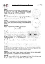 Geometrie (1 Geometrie: I. Vorkenntnisse – Übungen ) Übungen